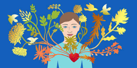 Man with flowers and birds emanating from his heart