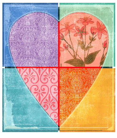 Heart decorated with different floral patterns and divided into quadrants
