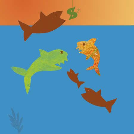 Fish fighting over dollar sign