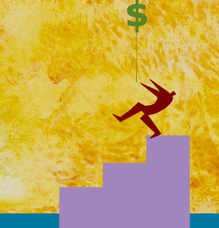 Man climbing stairs to reach dollar sign