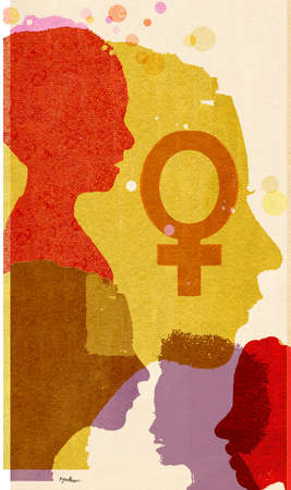 Silhouettes of women in profile with female sex symbol