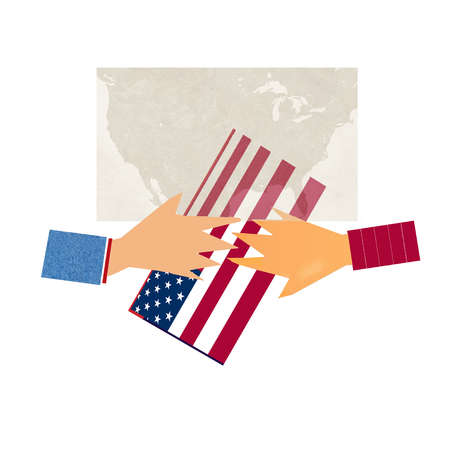 Hands on opposite ends holding the american flag
