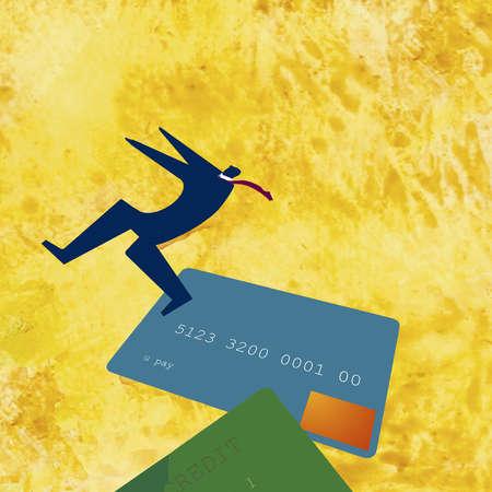 Man balancing on credit cards