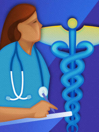Montage of nurse,stethoscope and caduceus.