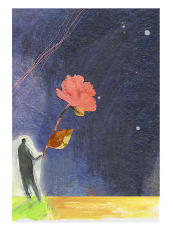 Person holding blooming rose against the night sky.