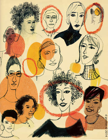 Portraits of diverse women with some faces outlined in red.