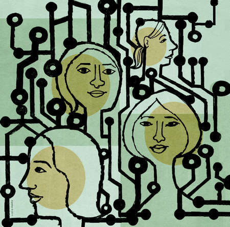 Profiles of women against a backdrop of circuitry.