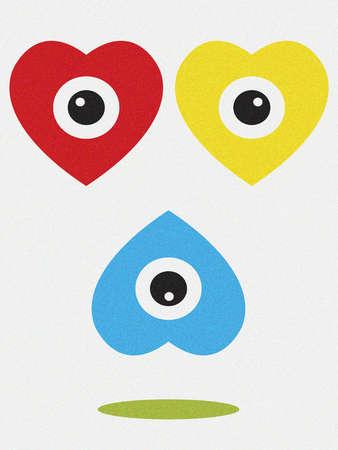 Three hearts with eyes