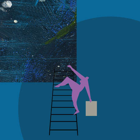 Person climbing ladder into the universe