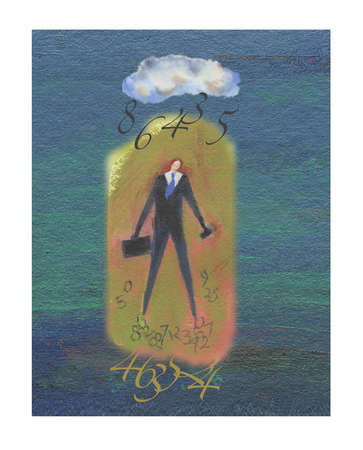 Businessman surrounded by numbers with a  cloud over his head