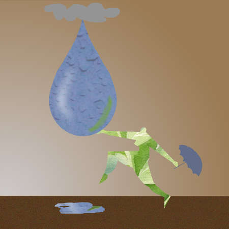 Figure doing a rain dance around a drop of water