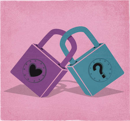 Two interlocking locks with a heart and a question mark.