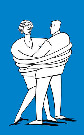 Man and woman entangled in each other's arms.
