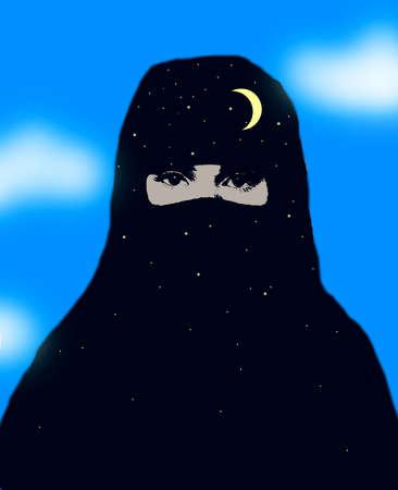 Muslim Woman Covered in Night Burka