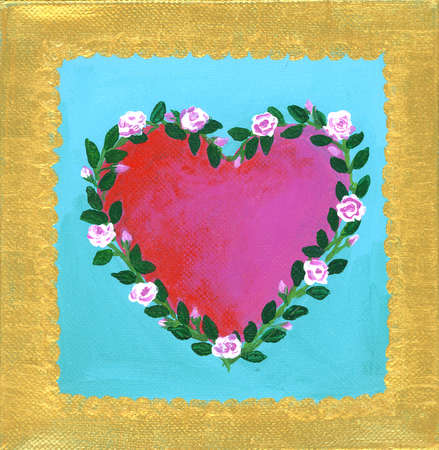 Framed Heart Encircled with Rose Branches