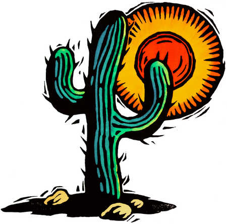 Stock Illustration - Cactus And Sun