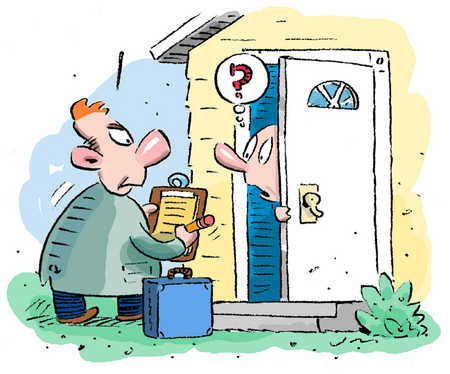 Stock illustration door to door sales for Door to door salesman