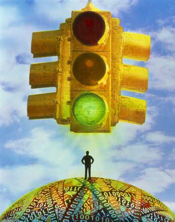 Figure With Traffic Light
