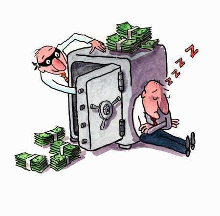 Stock Illustration - Man stealing money from safe