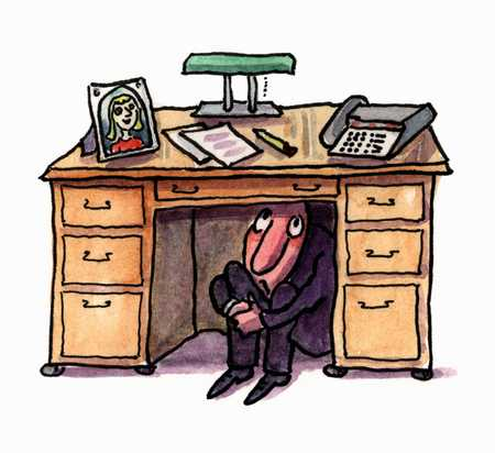 Stock Illustration Man Hiding Under Desk