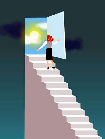 Stock Illustration - A businesswoman walking up the stairs ...