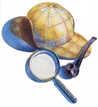 Mütze, Pfeife, Lupe