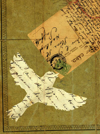 Collage with a flying bird, vintage letters, postcard and stamps