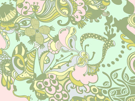 stock illustration a green and pink whimsical floral