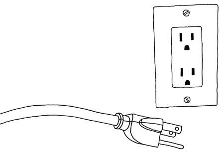 Power Plug Drawing Cord Next to Electric Outlet