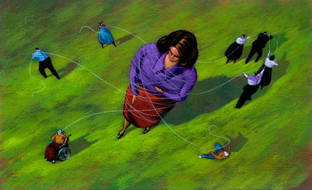 People entangling large woman with thread