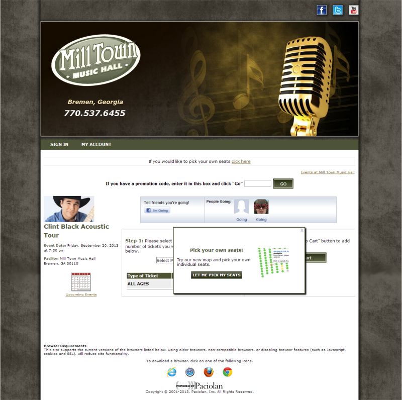 Milltown Music Hall branded website
