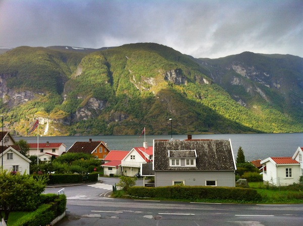 Outside our hotel in Aurland