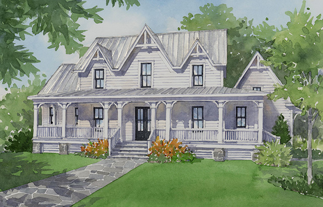 Southern gothic southern living house plans for Four gables house plan with garage