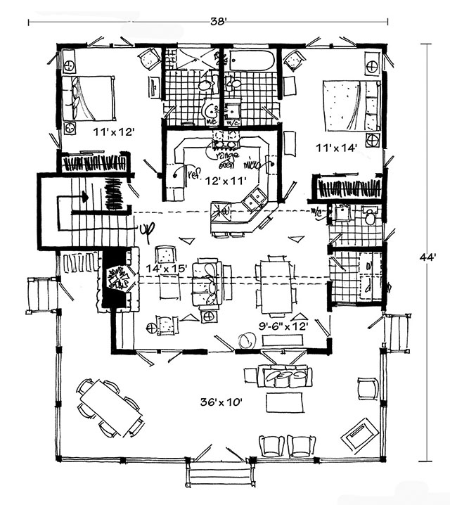 Bunkhouse ii southern living house plans for Southern living house plans with keeping rooms