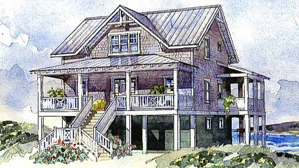 Bayside cottage sullivan design company southern for Coastal beach house plans
