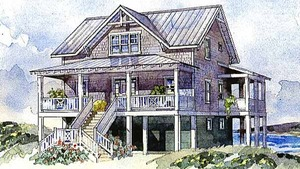 Beach Coastal House Plans   Sunset House PlansBayside Cottage SL