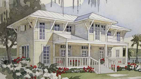 Bayside retreat coastal living southern living house plans for House plans with guest houses southern living