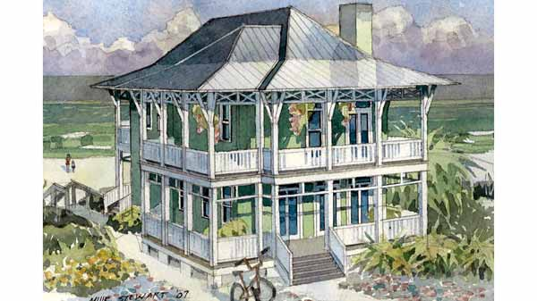 Seaside escape benjamin showalter southern living for Best coastal home plans