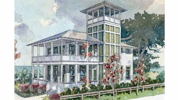 Shoreline lookout coastal living southern living house for Lookout tower house plans