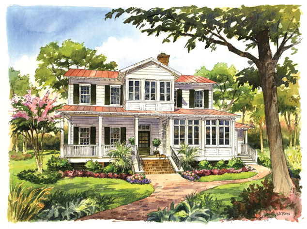 Vintage lowcountry print southern living house plans for Southern low country house plans