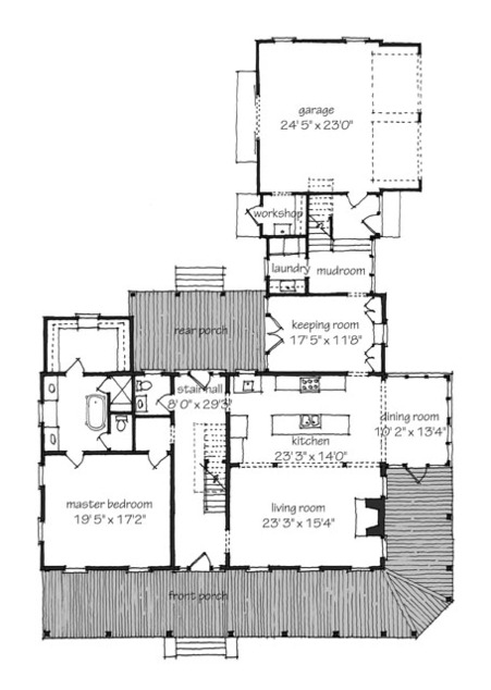 Farmhouse revival print southern living house plans for Ideal house plan