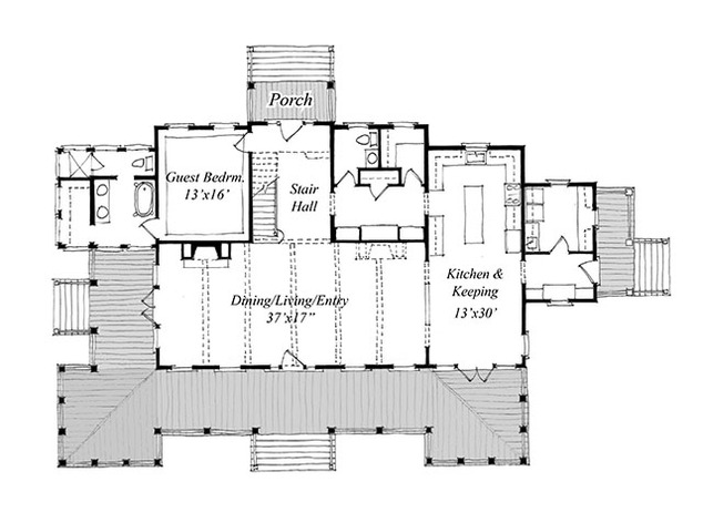 New carolina island house print coastal living house for Carolina cottage house plans