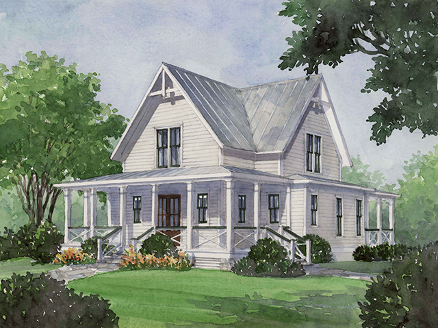 Four gables southern living house plans for One level farmhouse house plans