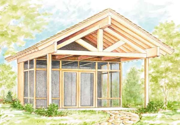 Half screened picnic shelter 2 sets sunset house plans Shelter house plans