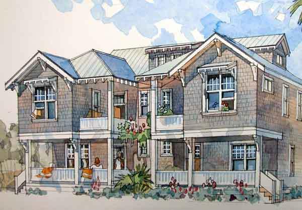 Dune duplex coastal living southern living house plans for Coastal living home plans