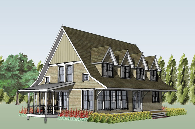 Rendering Exterior Front 3 quarter view Porch