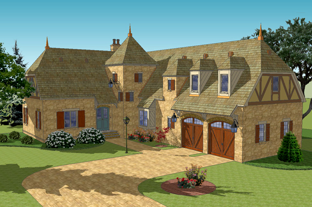 sl 1721 exteriorfront3q - French Country Cottage House Plans