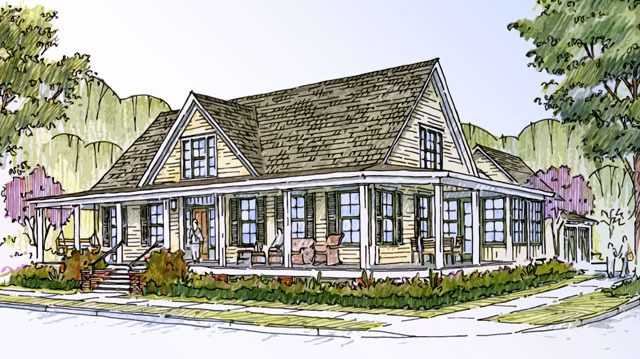 Farmhouse revival southern living house plans for Stonegate farmhouse plans