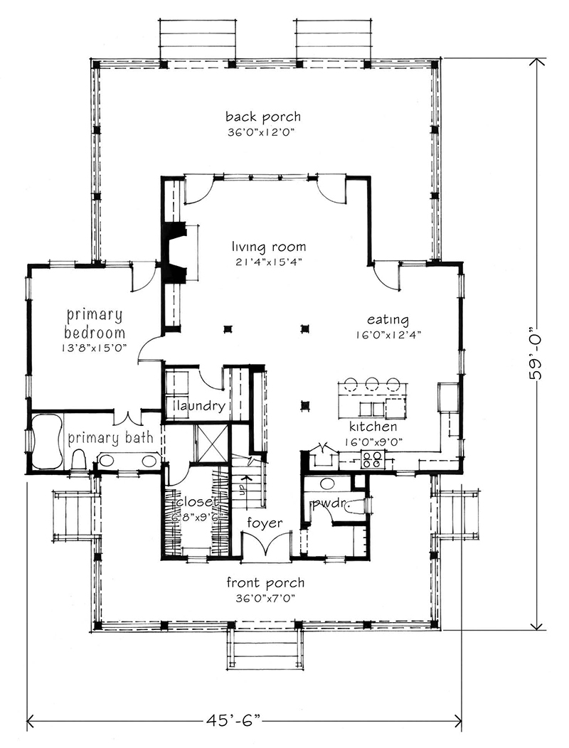 four gables house plan