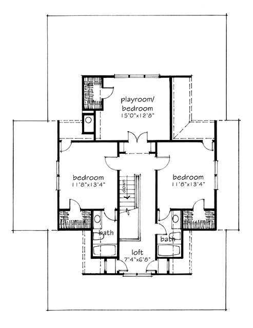 Four gables southern living house plans Gable house plans